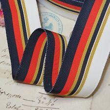 """1y Vtg 1.5"""" French Grosgrain Ribbon Navy Gold White Stripe Millinery Hat Trim"""
