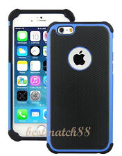 for iPhone 6 phone blue black triple layer rugged hybrid hard soft case 4.7 inch