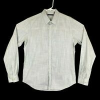 Theory Gray Grey Solid Long Sleeve Button Up Heathered Shirt Mens Size Large