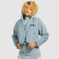 Ellesse Womens Jacket Reidi Faux Fur Fleece Short Fit Pale Blue