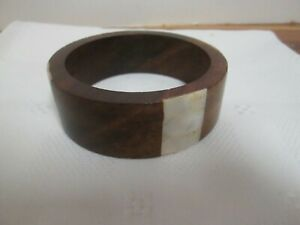 """Brown Wooden BRACELET with PEARL like INSERTS 2.5"""" diamenter/1"""" wide"""
