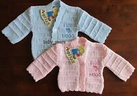 BABY KNITTED CARDIGAN GIRLS BOYS PINK BLUE I LOVE HUGS 0-3 3-6 6-9 MONTHS NEW