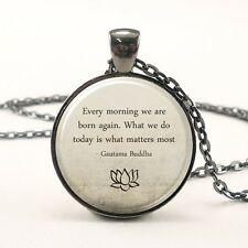 Buddha Quote Necklace, Motivational Wisdom Yoga Jewelry (1573G1IN)