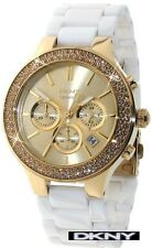 DKNY SEXY LADIES CERAMIC WHITE AND GOLD FACE WATCH NY8260
