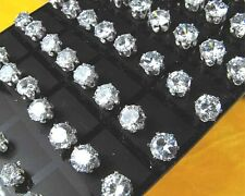New Lots 36Pairs 8mm Clear Round Cubic Zirconia Stud Earrings