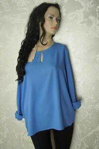 Tom Tailor Damen Bluse Tunika langarm blau Viskose Gr.XL UVP 39,99 Neu