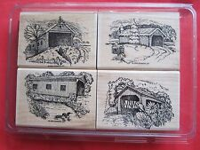 Changing Seasons Set of 4 Stampin Up Rubber Stamps 2003 Covered Bridges
