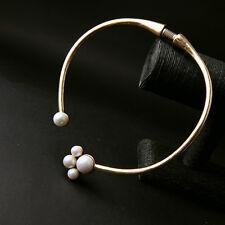 Collier Court Ras Du Cou Doré Rigide Perle Blanc Fashion Retro QT 3