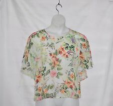 Rose & Olive Women Short Sleeve Floral Print Tiered Blouse Top Size M Multi