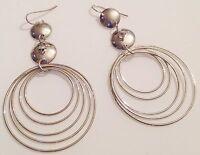 boucles d'oreilles percées rétro couleur argent pampille anneaux cristal 464