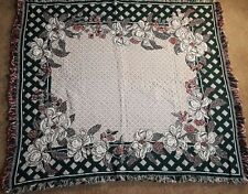Woven Floral Throw Blanket Tapestry White Green Red Diamond Pattern 51 X 56