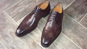 Men's Grey Leather Dress Shoes MAGNANNI Orleans II 10 Medallion Toe Derby $435