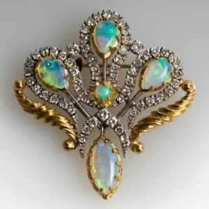"""VINTAGE 6.12CT OPAL & DIAMOND BROOCH PIN IN 18K YELLOW GOLD OVER about 1 1/2"""""""