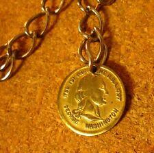 GEORGE WASHINGTON vtg metal keychain 1970s double-sided charm w/ chain 1789-1797