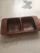 Real Wood Small Square Plate - Nibble Dark brown