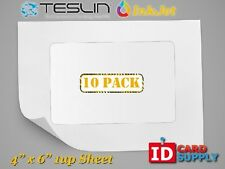 "Teslin® Synthetic Paper - 4"" x 6"" Perforated 1-Up InkJet Sheet 