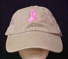 Breast Cancer Awareness Hat Cobra Adjustable Khaki Tan  Pink Embroidered Ribbon