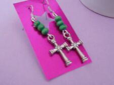 CELTIC CROSS charm & green wooden bead surgical steel hook dangle gift earrings