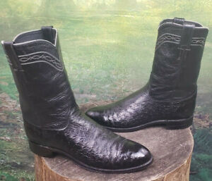 Men's Cowboy Western Boots Smooth Ostrich Justin USA Made Classic 11.5 B Exotic