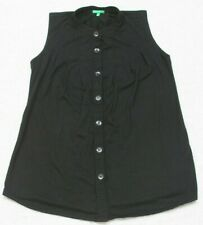 United Colors Of Benetton Black Dress Shirt Woman's Sleeveless Rayon Polyester
