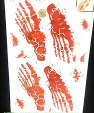 BLOODY SKELETON FOOT FEET PRINT DECAL Floor Sticker Halloween Horror Decorations