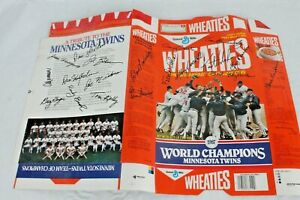 Vintage Minnesota Twins 1987 World Champions Signed Wheaties Box