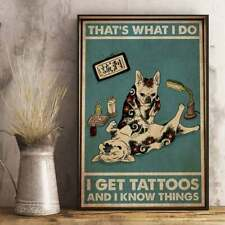 French Bulldog Get Tattoos And Know Things Dog Lover Wall Decor Poster Vintage