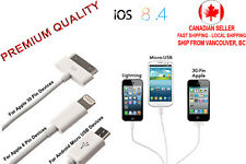 1m Long 3 in1 USB Data & Charger Cable for Android Samsung Apple iPhone iPad