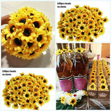 """100pcs Artificial Silk Yellow Sunflower Heads 1.8"""" Fabric Floral for Home Decor"""