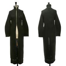 ANN DEMEULEMEESTER black knitted merino wool zip front long coat FR36 US4 UK8