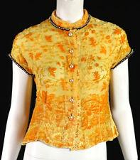 VOYAGE Harvest Yellow Flocked Velvet & Silk Beaded Trim Blouse S