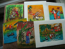 Set of 7 Hand Painted Cotton Fabric Pieces Asian Themed 6 x 4.5 In - 3 in Cards