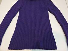 United Colors of Benetton Wool & Alpaca Blend Purple Turtleneck Long Sweater - M