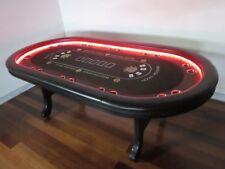 MODERN LUXURY TIMBER DESIGN 8 FT PRO POKER TABLE W/ LED LIGHTS  [BLACK FELT]