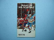 1977/78 MUTUAL LIFE OF CANADA NHL HOCKEY SCHEDULE