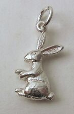 GENUINE SOLID 925 STERLING SILVER 3D BUNNY RABBIT ANIMAL Charm/Pendant