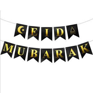 Eid Mubarak Banner Ramadan Hanging Bunting Islamic Celebration Party Decorations