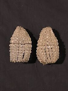 """2 Antique French beaded crystal glass beaded bulb cover ca 1920 3"""" tall"""