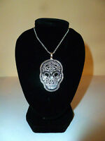 VALENTINES BEAUTIFUL DAY OF THE DEAD VOODOO QUEEN SKULL VEVE PENDANT NECKLACE