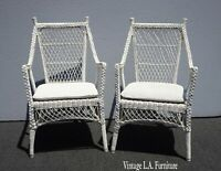 Pair Vintage French Country White Wicker Accent Chairs