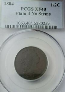 1804 Plain 4 No Stems Draped Bust Half Cent Grade XF40 by PCGS - RARE DATE