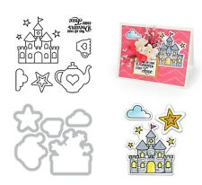 Sizzix Framelits Dies with Stamps - Princess #2 - Fairy Castle, Stars, Tea Party