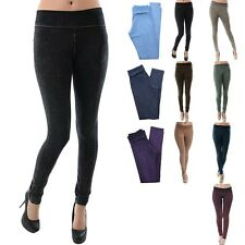 HIGH QUALITY Mineral Wash Fold Over Waistband Full Length Skinny Leggings S M L