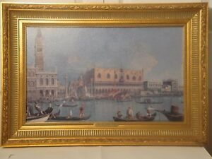 """Framed Print On Canvas """"Veduta Del Palazzo Ducale"""" by GIOVANNI CANALETTO 17 x 25"""