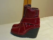 FLY LONDON RED PATENT LEATHER PLATFORM WEDGE ANKLE BOOTS UK 4 EUR 37 RRP £135