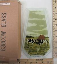 FREE US SHIPPING ok touch lamp replacement glass panel Cows on Farm 638-Cow