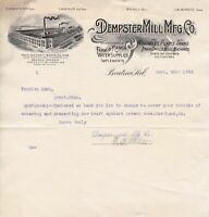 U.S. Dempster Mill Mfg Co. Beatrice, Neb. 1902 Illustrated Logo Invoice Rf 44099