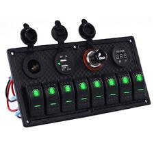 8 Gang Coche/Marine/Barco 12-24 voltios LED Verde Balancín Interruptor Panel Interruptor de circuito