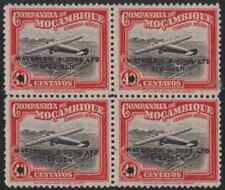 Mozambique Co. 1935 Air Inaug. 40c Waterlow color sample black/red block of four