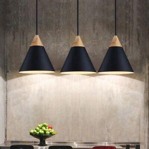 3X Black Pendant Light Wood Ceiling Lights Home Chandelier Lighting Modern Lamp